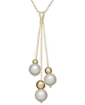 Belle De Mer Pearl Necklace, 14k Gold Cultured Freshwater Pearl And Bead Pendant