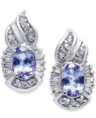 Tanzanite (1 Ct. T.w.) & Diamond (1/4 Ct. T.w.) Drop Earrings In 14k White Gold