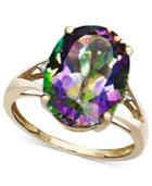 Mystic Topaz (7-1/6 Ct. T.w.) And Diamond Accent Oval Ring In 14k Gold