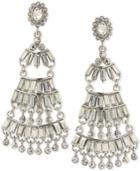 Abs By Allen Schwartz Silver-tone Baguette Chandelier Earrings