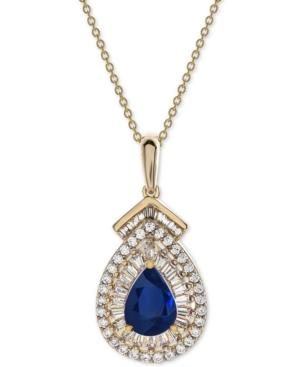 Sapphire (3/4 Ct. T.w.) & Diamond (1/3 Ct. T.w.) 18 Pendant Necklace In 14k Gold (also Available In Emerald)