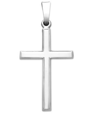 14k White Gold Pendant, Traditional Cross