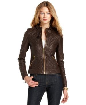 Michael Michael Kors Jacket, Quilted Leather Motorcycle