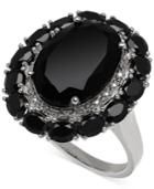Onyx (20-4/5 Ct. T.w.) And Diamond Accent Ring In Sterling Silver