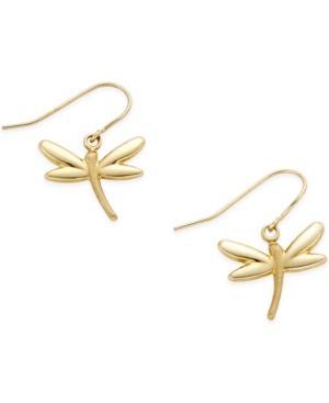 Dragonfly Drop Earrings In 10k Gold