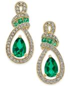Emerald (5 Ct. T.w.) And Diamond (1/4 Ct. T.w.) Drop Earrings In 14k Gold