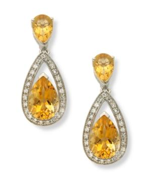 Sterling Silver Earrings, Citrine (5-1/10 Ct. T.w.) And Diamond (1/5 Ct. T.w.) Pear Drop Earrings