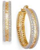 Victoria Townsend 18k Gold Over Sterling Silver And Sterling Silver Earrings, Diamond Accent Greek Key Hoop Earrings