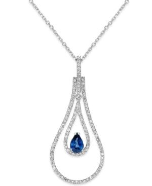Sapphire (3/8 Ct. T.w.) And Diamond (3/8 Ct. T.w) Pendant Necklace In 14k White Gold
