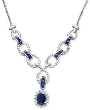 14k White Gold Necklace, Sapphire (2 Ct. T.w.) And Diamond (1/2 Ct. T.w) Toggle