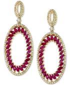 Effy Ruby (4-1/2 Ct. T.w.) And Diamond (1 Ct. T.w.) Drop Earrings In 14k Gold