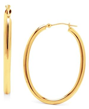 14k Gold Earrings, High Polish Oval Hoop