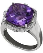 Amethyst (6 Ct. T.w.) And Diamond (1/5 Ct. T.w.) Ring In Sterling Silver