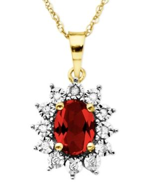 10k Gold Necklace, Ruby (1-1/8 Ct. T.w.) And Diamond Accent Pendant