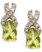 Peridot (9/10 Ct. T.w.) & Diamond (1/8 Ct. T.w.) Stud Earrings In 14k Gold