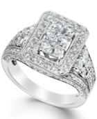 Diamond Square Ring In 14k White Gold (2 Ct. T.w.)