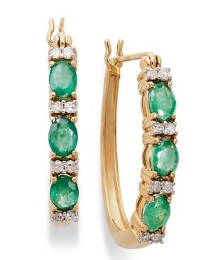 14k Gold Earrings, Emerald (1 Ct. T.w.) And Diamond (1/8 Ct. T.w.) Hoop Earrings
