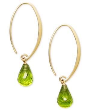 14k Gold Earrings, Peridot Long Hoop Earrings (6-3/4 Ct. T.w.)