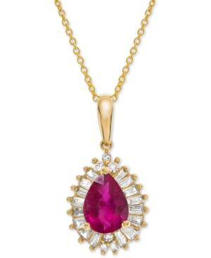 Certified Ruby (3/4 Ct. T.w.) & Diamond (1/4 Ct. T.w.) 16 Pendant Necklace In 14k Gold