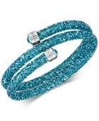 Swarovski Silver-tone Blue Stone & Crystal Rock Coil Bracelet