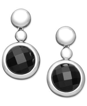 Sterling Silver Earrings, Onyx Drop Earrings (15-16mm)