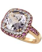 Rose Amethyst (4 Ct. T.w.), Pink Sapphire (9/10 Ct. T.w.) Diamond (1/3 Ct. T.w.) Ring In 14k Gold