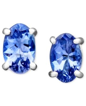 14k White Gold Earrings, Oval Tanzanite Stud (7/8 Ct. T.w.)