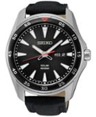 Seiko Men's Solar Sport Black Leather Strap Watch 43mm Sne399