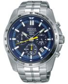 Pulsar Men's Solar Chronograph Stainless Steel Bracelet Watch 45mm Pz5001