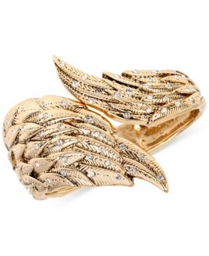 Betsey Johnson Gold-tone Crystal Angel Wing Hinge Bangle Bracelet