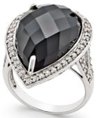 Onyx (14x22mm) And Swarovski Zirconia Ring In Sterling Silver