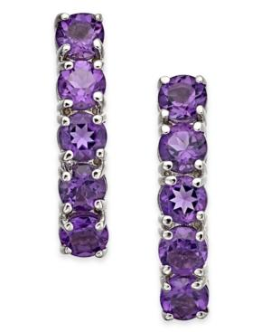 Amethyst Hoop Earrings (2 Ct. T.w.) In 14k White Gold