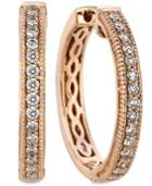 Le Vian Diamond Diamond Channel Hoop Earrings (1/2 Ct. T.w.) In 14k Rose Gold