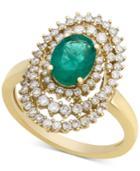 Emerald (1 Ct. T.w.) & Diamond (3/4 Ct. T.w.) Spiral Statement Ring In 14k Gold
