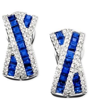 14k White Gold Sapphire (1-3/4 Ct. T.w.) & Diamond (1/2 Ct. T.w.) Earrings
