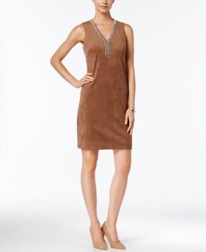 Jessica Howard Embellished Faux-suede Sheath Dress