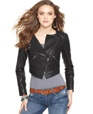 Free People Jacket, Cropped Faux Leather Motorcycle