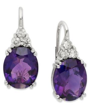 14k White Gold Earrings, Amethyst (9 Ct. T.w.) And Diamond (3/8 Ct. T.w.) Leverback Earrings