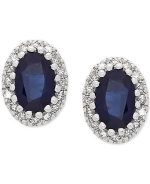 Sapphire (1 Ct. T.w.) & Diamond (1/8 Ct. T.w.) Oval Stud Earrings In 14k White Gold