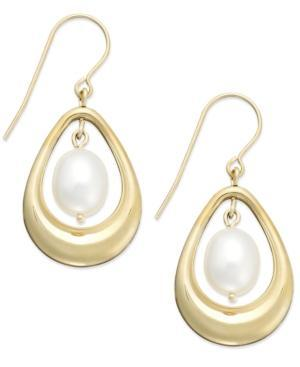 Cultured Freshwater Pearl Pear Drop Earrings In 14k Gold (8mm)