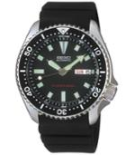 Seiko Men's Automatic Diver Black Polyurethane Strap Watch 40mm Skx173