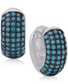 Manufactured Turquoise Huggie Hoop Earrings In Sterling Silver