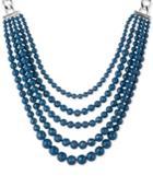 Anne Klein Silver-tone Blue Bead Torsade Collar Necklace