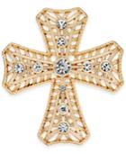 Gold-tone Crystal Cross Brooch, Only At Macy's