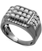 Men's Gray Diamond Horizontal Cluster Ring (1-1/2 Ct. T.w.) In Sterling Silver With Gray Rhodium Plating