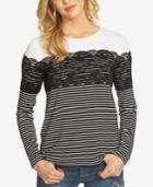 Cece Striped Lace Top