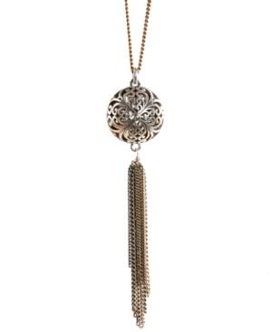 Lucky Brand Necklace, Silver-tone Openwork Tassel Pendant