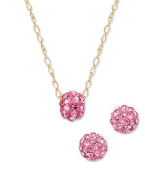 Children's 14k Gold Necklace And Earring Set, Pink Crystal Ball Necklace And Earring Set