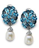 Sterling Silver Earrings, Cultured Freshwater Pearl (7mm X 9mm) And Blue Topaz Drop Earrings (4-3/8 Ct. T.w.)