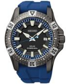 Seiko Men's Solar Dive Blue Rubber Strap Watch 45mm Sne283